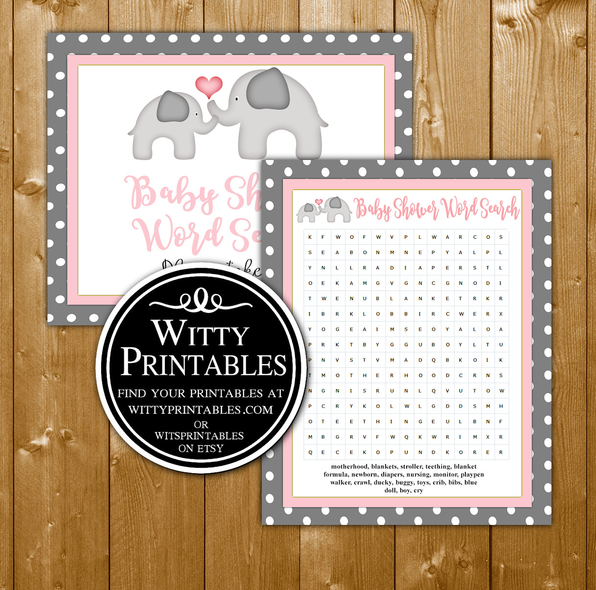 Word Search Baby Shower Game Printable Pink Elephant Theme
