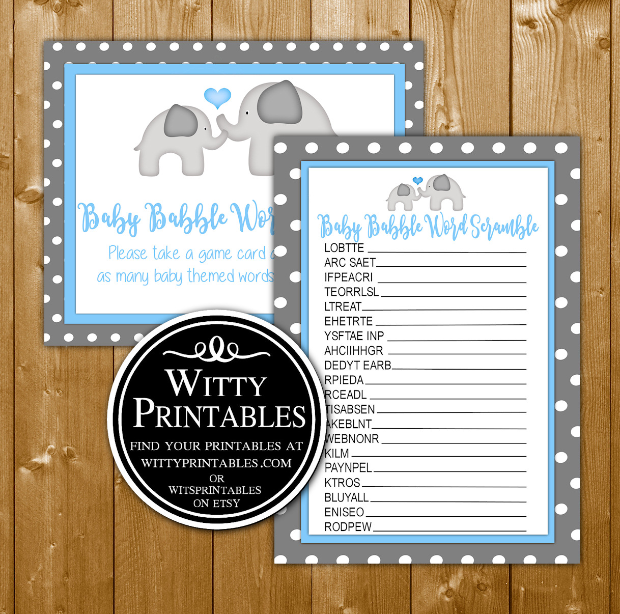 Word Scramble Baby Shower Game Printable Blue Elephant