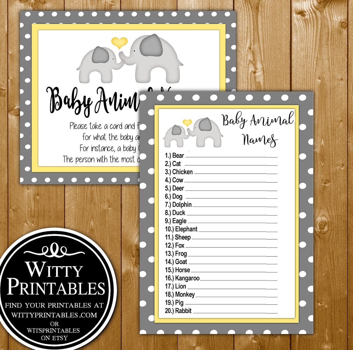 Animal Names Baby Shower Game Printable Yellow Elephant