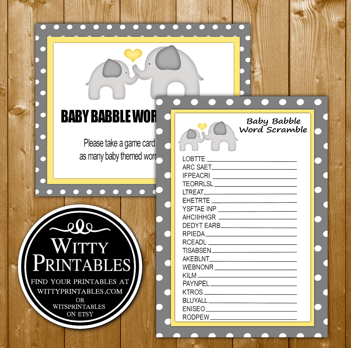 Word Scramble Baby Shower Game Printable Yellow Elephant Neutral Theme