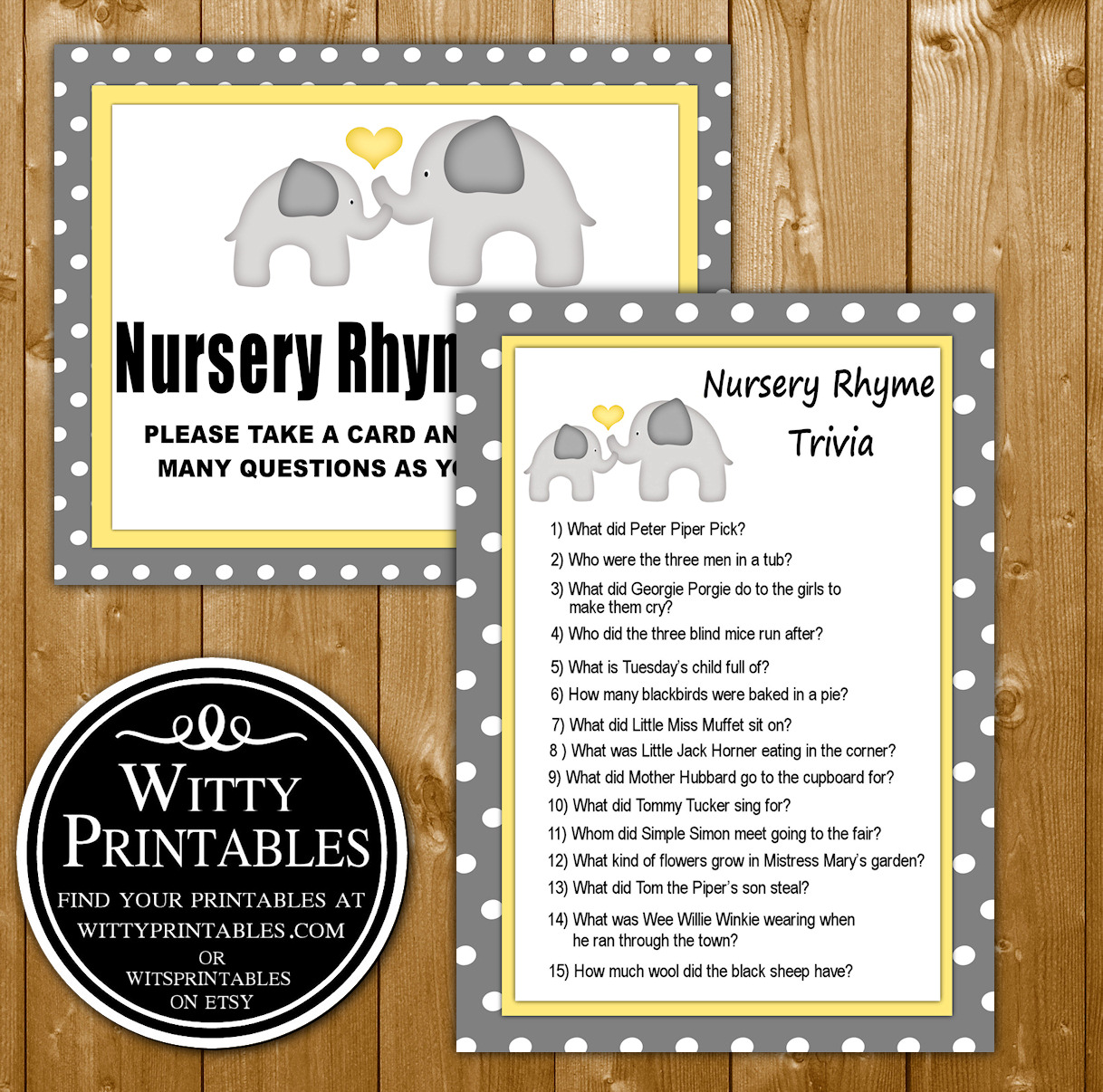 Nursery Rhyme Trivia Quiz Baby Shower Game Printable Yellow Elephant Neutral Theme