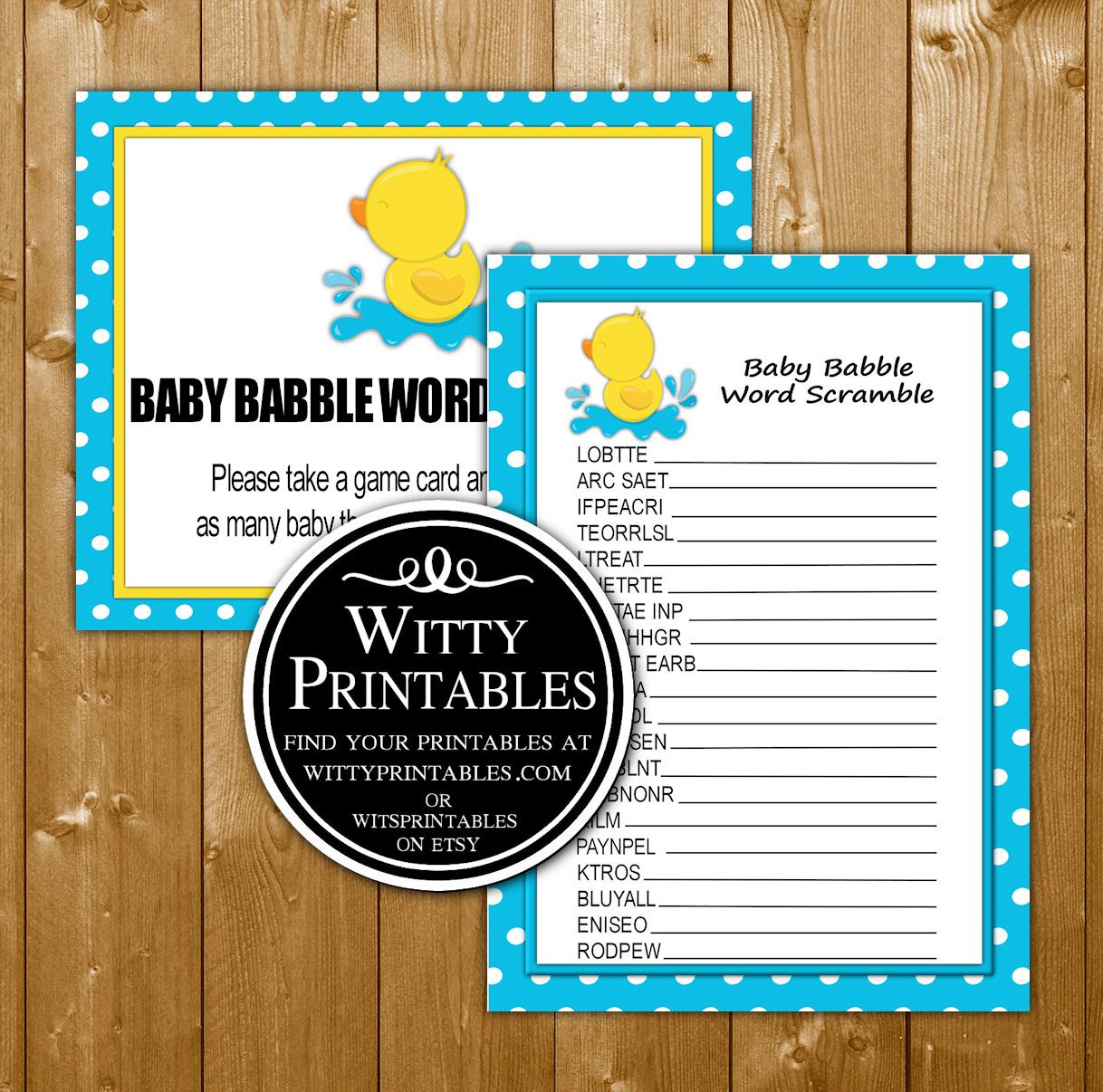 Word Scramble Baby Shower Game Printable Aqua Duck Boy