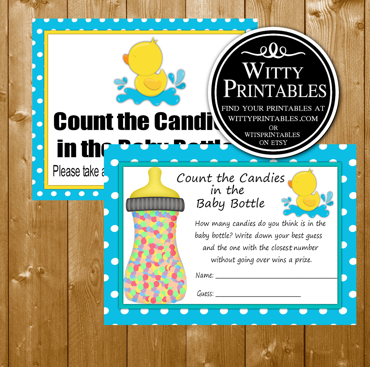 Candy In A Bottle Baby Shower Game Printable Aqua Duck Boy