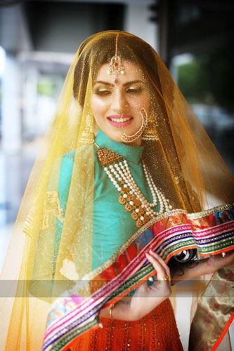 Love this ghunghat with work at the edges upping the sneak peak stakes for the Indian bride   Unconventional Indian Bride   Curated By Witty Vows