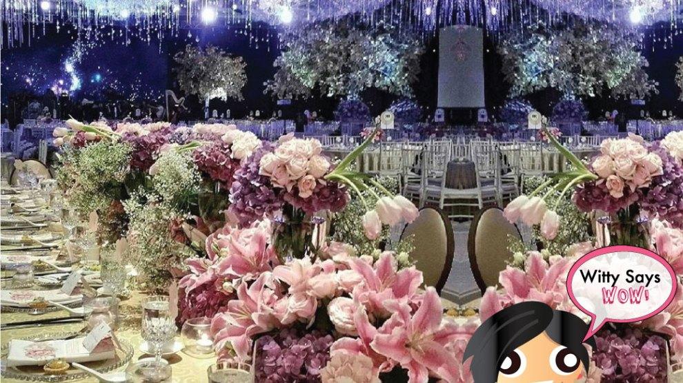 Wedding Decor Ideas| Wedding Design| Indian Weddings |wedding inspirations | Ceiling Installations Lighting by Adam Afara| Dubai | Witty Says Wow| Stunning Fresh Flower Table Setting | Decor ides| Luxury Weddings| Big Fat Weddings| Twinkling lights