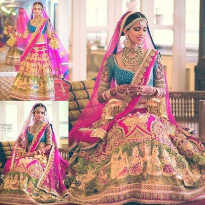 Day Wedding Lehenga Style | Fuchsia/ rani pink and green lehenga with beautiful krishna scenery painted and embroidered with gold detailing | Cerulean blue blouse with gold embroidery on sleeves | Long Pink net Dupatta | Nishka Lulla | By Neeta Lulla | Curated by Witty Vows