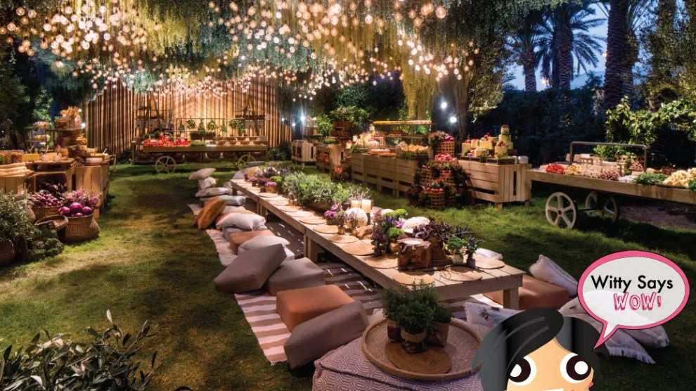 Outdoor Wedding Reception Decor Idea by DesignLab, Dubai | Indian wedding Ideas | Indian wedding decor ideas | outdoor decor| farm decor idea| low seating decor ideas