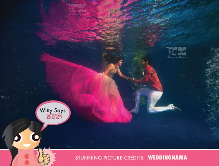 Witty Says WOW | Underwater wedding proposal idea for an indian Couple | Stunning shot of the Bride and groom to be by Wedding Nama | Curated by Witty Vows