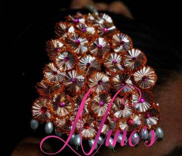Gold and pink Gota Jhoomar with pearl detailing for mehndi| Ninos creations | Curated by witty Vows for the Indian bride on her Mehendi & wedding