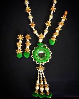 Green pompom and gota jewellery set with pearl beads for mehndi | Rasha Gota Jewellery | Earrings, Necklace and Tika | Curated by Witty Vows | Jewellery for the Indian Bride on Mehendi and Wedding