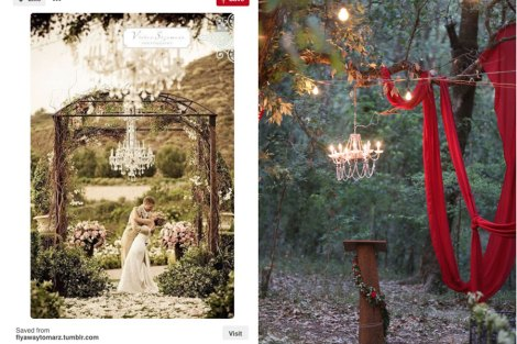 Decor idea for Christian and Indian wedding outdoors - a single chandelier hanging form the tree and sweeps of fabric draped across with bulbs | Subhashree and Jonathan | Destination wedding in the hills | DIY decor ideas for Indian brides | curated by Witty Vows