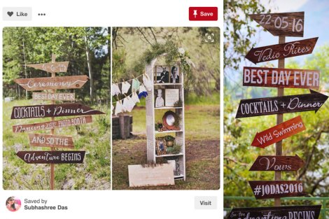 cute ceremony decor ideas for outdoor weddings | wooden direction signages for ceremony, bar , food , dance etc | picture perfect idea for Indain weddings| Jonathan and subhasheree | Rustic woodland destination wedding | Curated by Witty Vows