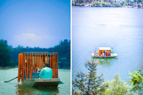 The unconventional baraat reception in a boat from the lakeside to the mandap decorated with marigold flowers for this colourful Indian Wedding   Jonathan & Subhashree   Cureated by Witty Vows