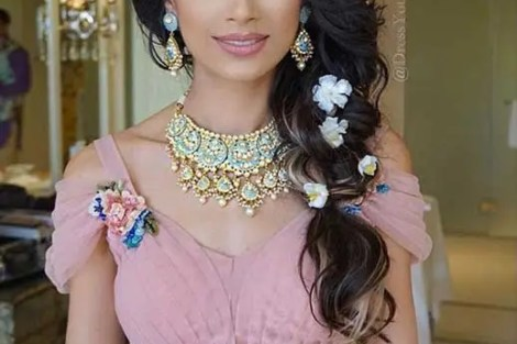 Indian wedding hairstyles for Indian Brides | Soft Jasmine style loose side braid with flowers | Dress your face