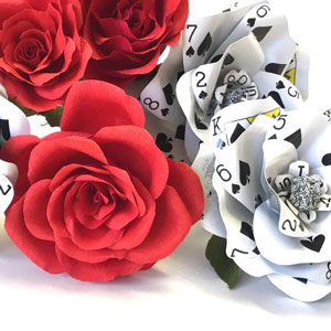 beautifully crafted DIY roses from playing cards for table centrepieces and decor at home for your diwali cards party