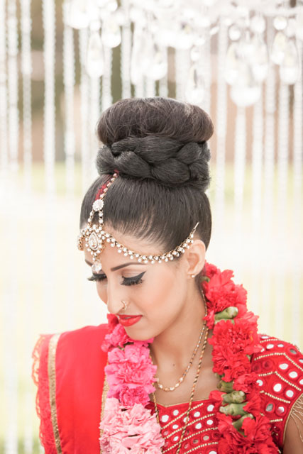 Indian wedding hairstyles for Indian Brides | Braided top knot | Grey Weddings