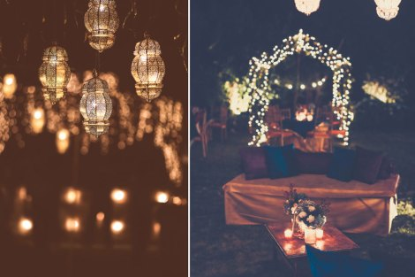 Ideas for an intimate night cocktail party for Indian weddings | Outdoor decor ideas for Indian weddings | Moroccon lanterns and fairy lights with cozy corners and candle light lounges | Jonathan and subhasheree | Rustic woodland destination wedding | Curated by Witty Vows