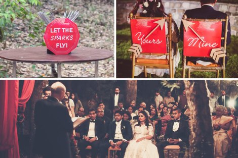 his and hers chair signs, sparkler signages for this beautiful ceremony | Beautiful outdoor forest style woodland wedding | rustic chic Indian destination wedding Ideas | Christian ceremony by Indian couple | Outdoor decor ideas for Indian wedding | Chandelier alter with red drapes from trees and the aisle lined with baby breath | Subhashree and jonathan | Woodland wedding in the hills | Budget bride | Curated by Witty Vows