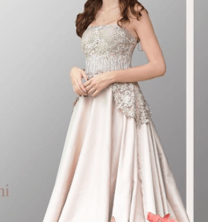 Cocktail Gowns for Indian Brides - Kamaali Couture| Reception Gown | Silver Ivory| Cocktail Gown| Indian Bridal Wear | Indian Weddings | Indian Designer | Bridal Fashion | Indian Bride| Indian Gown