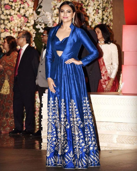 Bollywood style Wedding at the Ambani's | Sonakshi Sinha strikes a pose in her blue Anita Dongre with silver embroidery at Mukesh Ambani's niece's pre wedding party