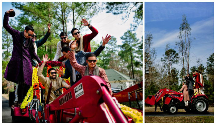 Indian groom entry ideas | Enter in on a bulldozer | Curated by witty vows