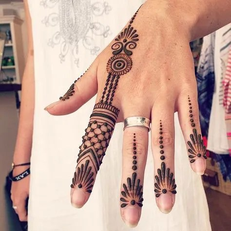 Minimal new mehndi design ideas for this wedding season | Henna Ideas | Jaali design mix modern Style finger Henna on back of the hand