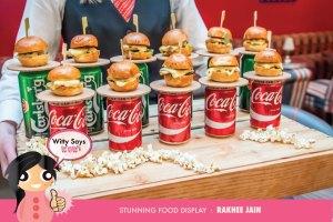 Innovative for display ideas for Indian Weddings by food stylist Rakhee Jain | Mini Burger and Beer appetiser ideas