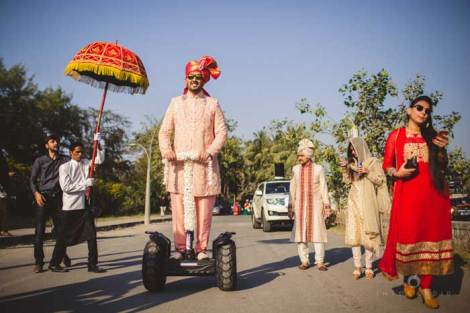 Indian groom entry ideas | Groom enters on a decorated Segway | Curated by witty vows