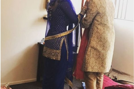 Sunny leone's Brother Sandeep vohra got married in a pretty Gurudwara Ceremony in LA | Sunny with her brother giving him some meethai