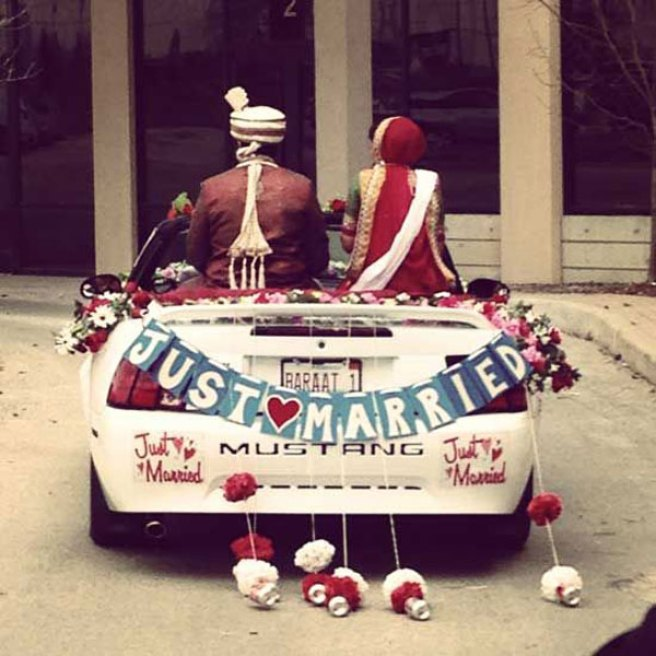 Groom and Bride exit ideas for Indian Weddings   vadai ideas   wedding send off ideas   couple exit ideas   Indian couple exit wedding groom and bride in a luxury car   Indian groom in a vintage car   Just married sign