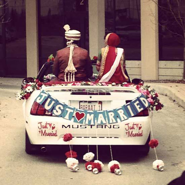 Groom and Bride exit ideas for Indian Weddings | vadai ideas | wedding send off ideas | couple exit ideas | Indian couple exit wedding groom and bride in a luxury car | Indian groom in a vintage car | Just married sign