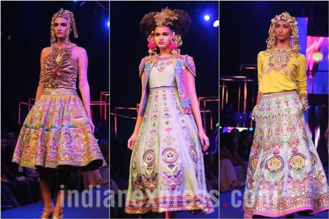 Models walk the ramp at Manish Arora's collection 2016 Blender's Pride Delhi | Mehndi outfit Ideas to steal from Manish Arora's New Collection