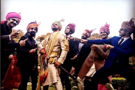 Cyrus Sahukar, Juhi Pande, newly-weds Yudhishtir and Aditi Mehra, Sheetal Mallar, Sarah Jane Dias, Singer Ankur Tewari and Gaurav Kapoor at Arunoday's wedding   Actor Aurunoday Singh's Wedding in Bhopal to lee elton   Arunoday Singh with all his friends   Groom posing with his friends