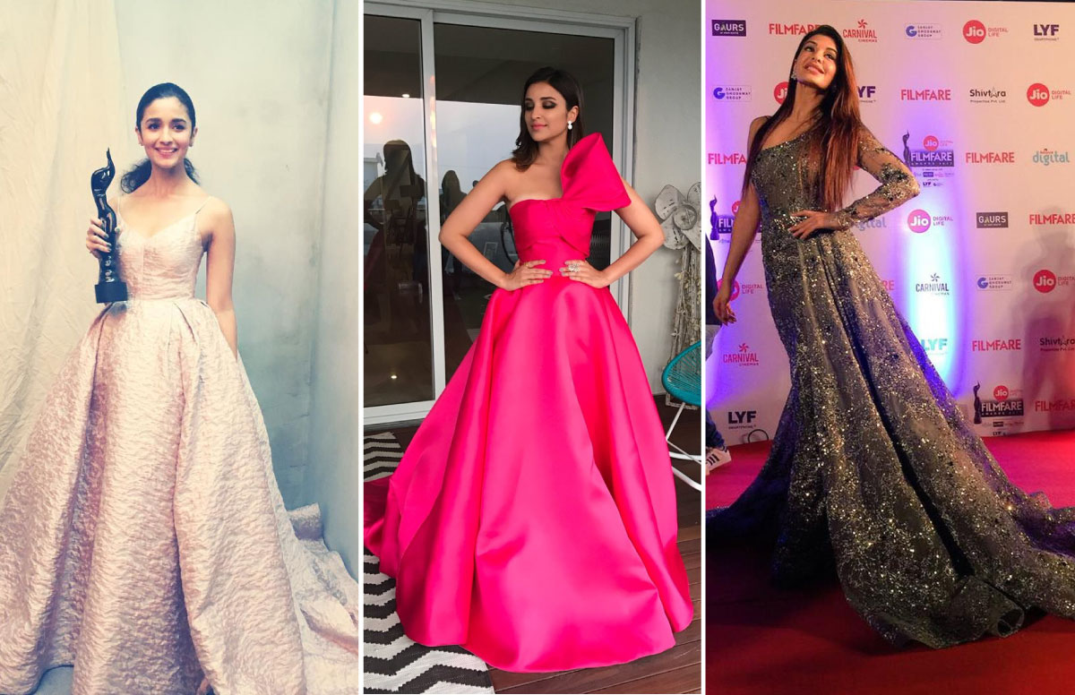 Indian reception gowns | long gowns | designer gowns | Filmfare 2017 | INDIAN WEDDING RECEPTION | bollywood fashion | alia bhai outfit pink gown | parineeti chopra hot pink gown | Jacqueline Fernandes grey shimmer gown
