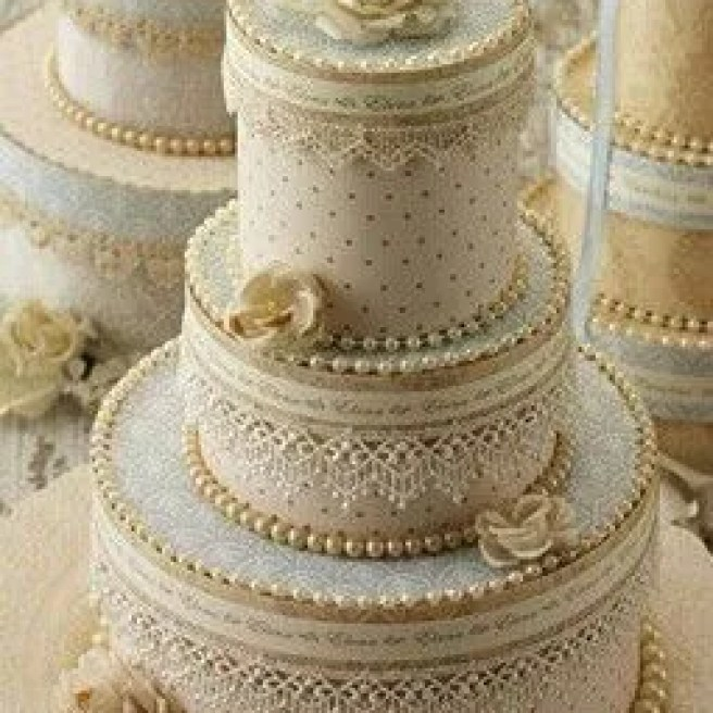 personalised wedding cakes | Indian Wedding Cakes | Duck egg able and ivory cake with gold, pearl and lace detailing for the day wedding to match the brides sabyasachi lehenga