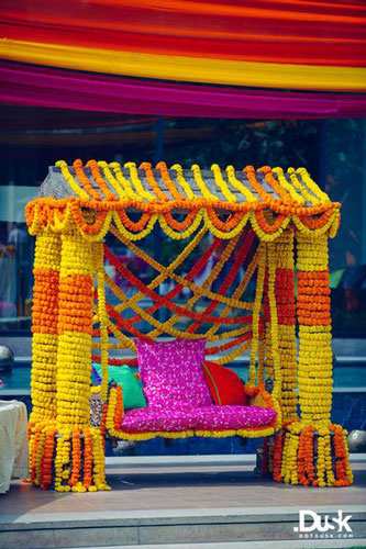 Bridal Bed to the Mehndi Swing , Bridal Seat Ideas from Rent