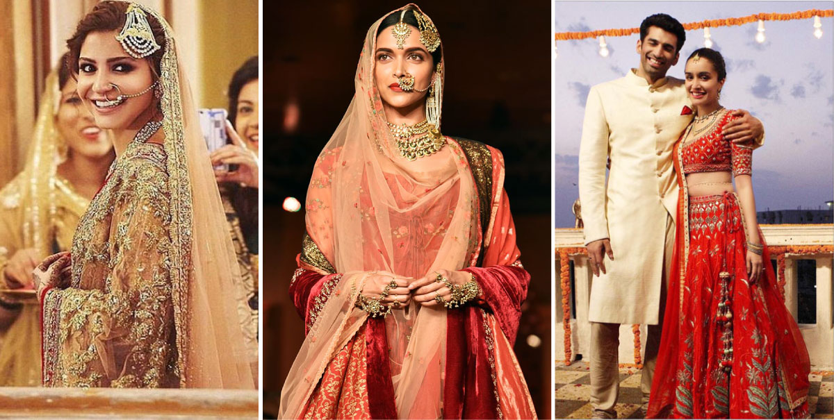 Wedding lehengas from bollywood - Anushka sharma, Deepika Padukone and Shraddha Kapoor | Bollywood fashion | Wedding Lehengas | bollywood lehenga | designer lehenga