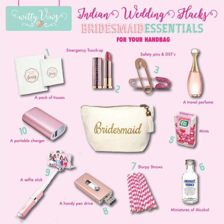 Indian bridesmaids essentials for her bag   Indian bridesmaid duties   DIY Indian Wedding survival Kit