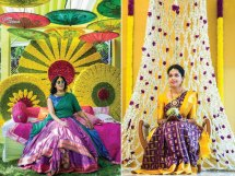Mehndi jhoola and innovative mehndi decor ideas | beautiful mehndi swing with greens and flowers | Real wedding mehendi bridal seat ideas | Day functions brides in South Indian weddings | Epics by Avinash and memory lanes
