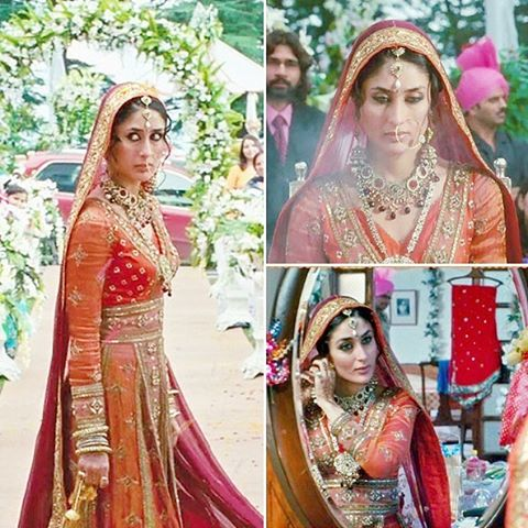 Kareena Kapoor red wedding lehenga in 3 idiots with gold detailing paired with a designer red and orange coat with full sleeves | temple jewellery for South Indian bride | Bollywood fashion | Wedding Lehengas | bollywood lehenga | designer lehenga