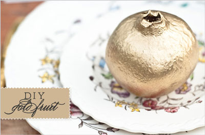 DIY gold painted fruit for table decor | centrepiece idea for Indian Sangeet Night