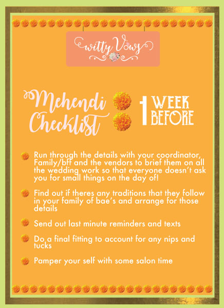 The ultimate Indian mehendi planning checklist   1 week timeline for mehendi planning