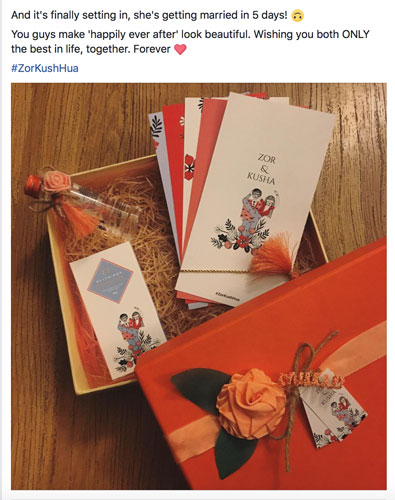 Amazing Indian wedding hashtag ideas from real weddings   How to make a wedding hashtag   Kusha and Zorawar Wedding   Oraneg and white wedding invite with all things customised chocolate and couple caricature with Smirnoff miniature bottle