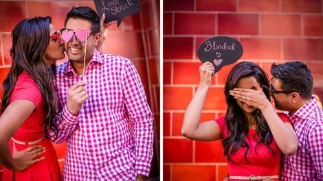 Coutship ideas for Indian relationships | Cute Indian couple preceding shoot | Blinded bu love and love struck with photo booth props | Shot by Rima Darwarsh