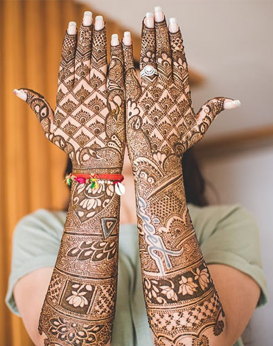 New trending Bridal Mehndi designs | Write the groom's full name in calligraphy across the length of the arm | mehendi design with lotus