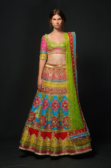 Manish Arora colourful lehnga with blue green red yellow and pink work | Warehouse by Mudita | Designer outfits | affordable Designer wear | Fashion deal |