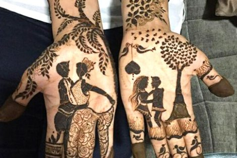 bridal mehndi design | Mehndi idea | Henna designs | Henna story with couple's love story | Couple dancing together