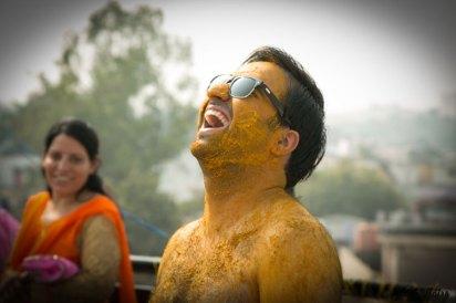 Indian groom happy at his haldi | sunglasses and haldi