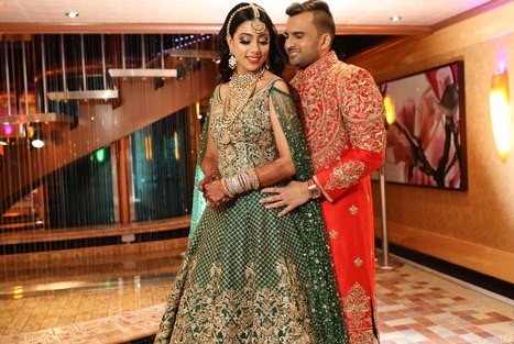 Sajan Wedding | Adel Sajan wedding | Adel and Sana Wedding | Cruise wedding | Bride in Neeta Lulla green lehengas
