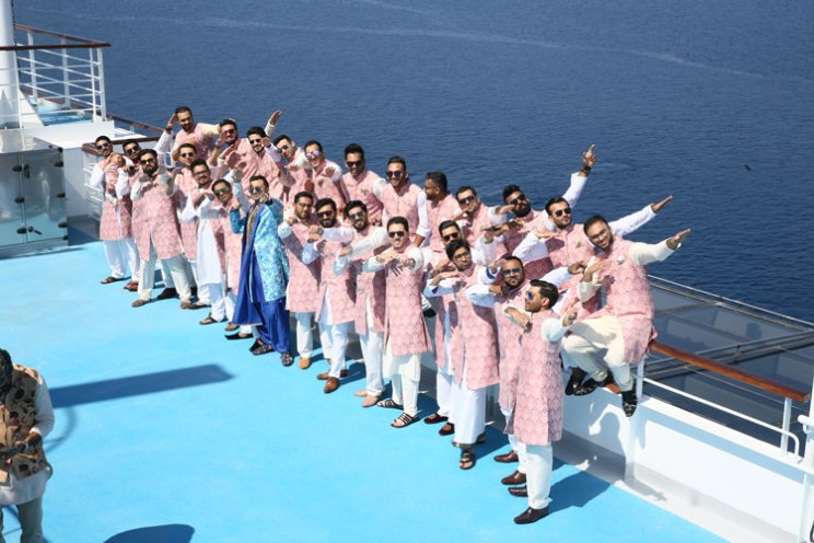 Adel Sajan wedding   Indian wedding on a cruise   Indian groom with his friends in matching outfits